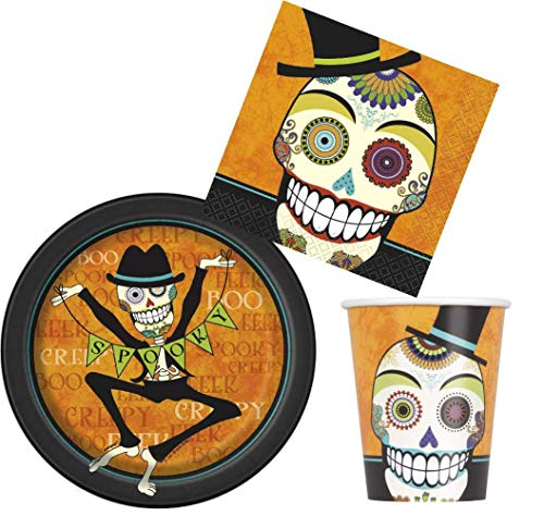 Disposable Dinnerware Set - Serves 8 - Halloween Party Supplies Pack Spooky Design - Includes Paper Dessert Plates, Napkins, Cups (Day of the -