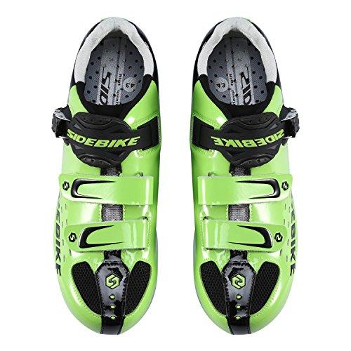 SUNVP Lightweight Radfahren Schuhe Durable Frauen und Männer Alle Rennrad Racing Komfortable Spin Schuhe Grün