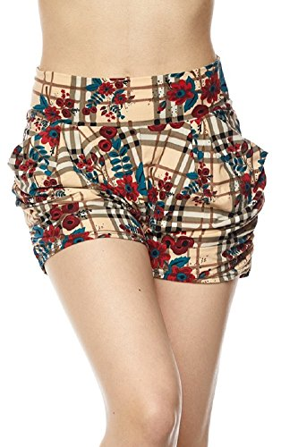- Premium Ultra Soft Brushed Yummy Popular Print Harem Shorts (Small/Medium (0-10), Tartan Print)