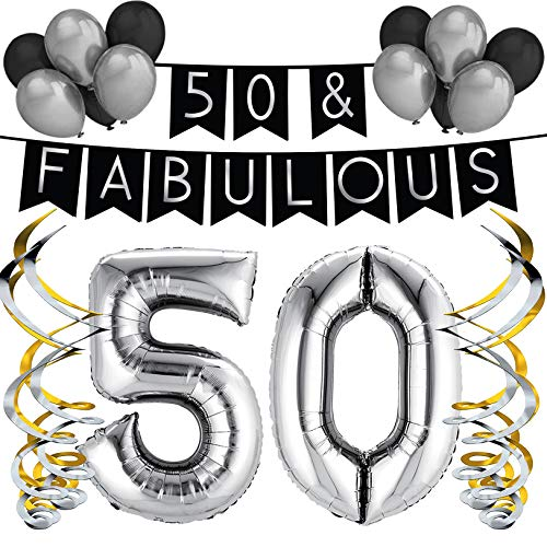 Sterling James Co. 50 & Fabulous Birthday Party Pack - Black & Silver Happy Birthday Bunting, Balloon, and Swirls Pack- Birthday Decorations - 50th Birthday Party Supplies ()