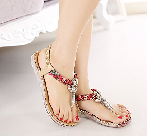 Wear Casual Gladiator Flat Bumud Apricot Sandals Shoe Thong Womens Rhinestone qZgxvtE