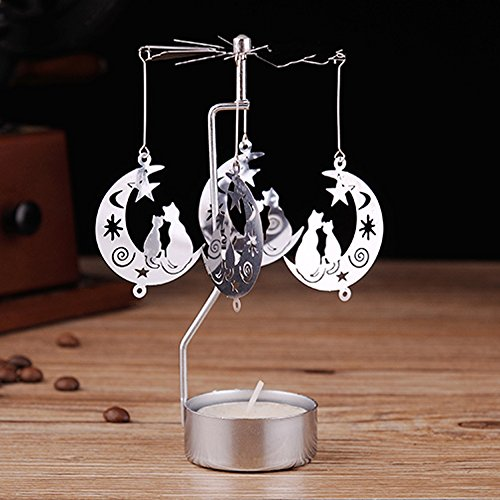 ndmill Silver Metal Exquisite Tea Light Candle Holder Romantic Wedding Dinner Decoration Desktop Ornaments (Moon Style) ()