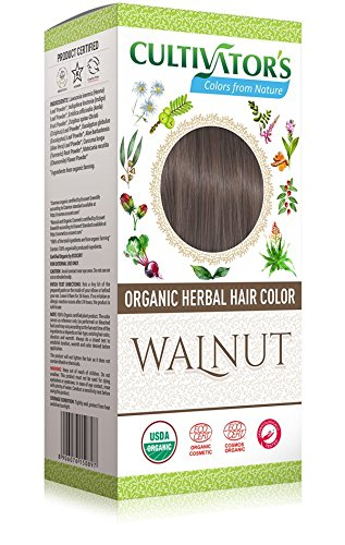 CULTIVATOR'S - Organic Herbal Hair Color - Walnut - Herbal Blend for Hair Dye and Care - Covers White Hair - No PDD and Harmful Ingredients - USDA and Ecocert Certified - Dermatologically tested - Not Tested on Animals - 100 gr Yumi Bio Shop