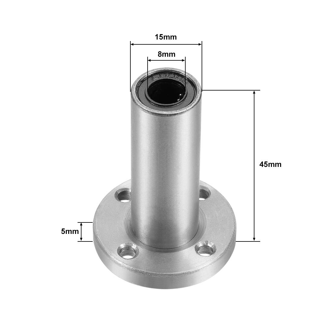 sourcing map LM8UU Extra Long Round Flange Linear Ball Bearings 8mm Bore Dia 45mm Length 1Pcs 15mm OD