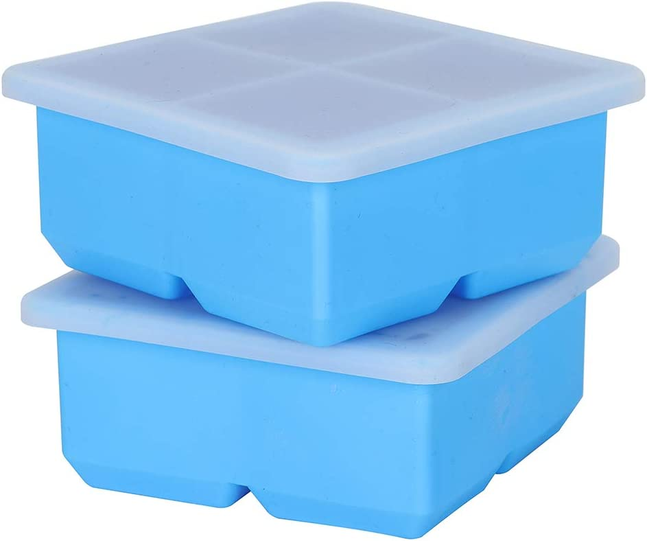 Alselo Ice Cube Trays With Lid, Large Square Ice Silicone Maker Mold, Ideal for Whiskey, Cocktails,Soups,Baby Food and Frozen Treats, Set of 2 Trays,Stackable, BPA Free (2, Blue)