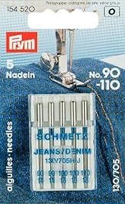 Prym 154520 - Agujas de máquina de coser para vaqueros (130/705, número 90-110)