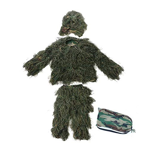 WEIFAN Ghillie Suit 5 pcs, Adult Jungle Field cs Stealth Grass Clothes to eat Chicken Camouflage -