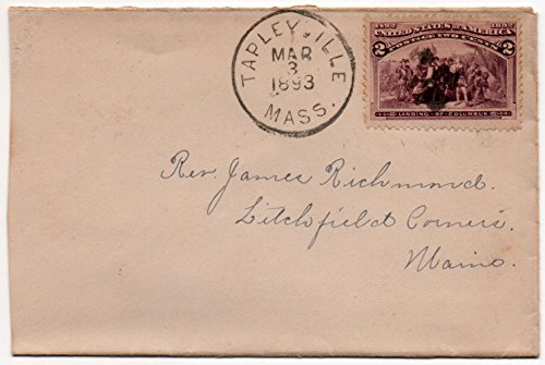 (US Postal Cover 1893 With 2 Cent US Postage Stamp Scott #231 Canceled March 3,1893 Tapleyville,Mass.)