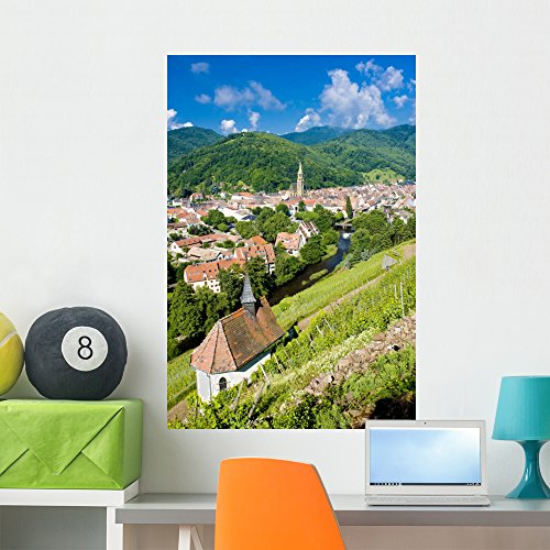 Wallmonkeys Grand Cru Vineyard and Chapel of St Urban Wall Decal Peel and Stick Graphic WM197880 (36 in H x 24 in W) Alsace Grand Cru Vineyards