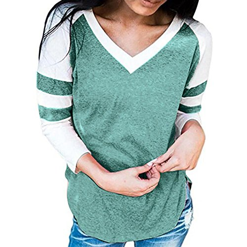 Gillberry Women Ladies Long Sleeve Splice Blouse Tops Clothes T Shirt For Women (S, Green - Eyewear Boots