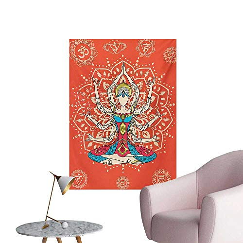 Anzhutwelve Yoga Wall Picture Decoration Yoga Technique with Ethnic Costume Zen Discipline Your Body and Mind ArtprintCream Red Teal W24 xL32 Poster Paper]()