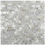 White Brick Groutless Pearl Shell Tile 1 sq.ft