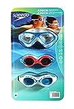 Speedo Junior Kids Swim Goggles 3 Pack - Blue, Red, White