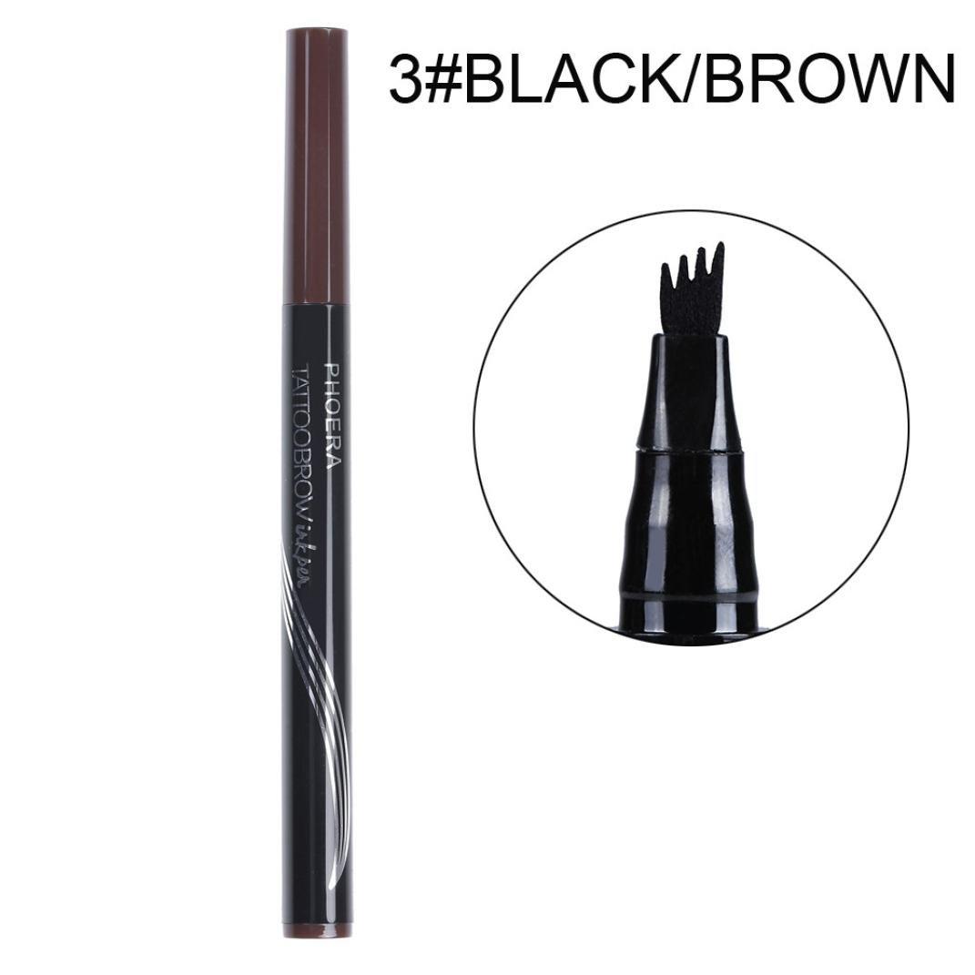 Xshuai® Phoera Maquillage Tatouage sourcils Pen Waterproof crayon longue durée Pointe Fourchette Sketch, 2