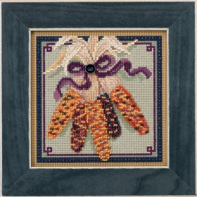 Harvest Corn Beaded Counted Cross Stitch Kit Mill Hill 2017 Buttons & Beads Autumn MH141721