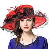 Kentucky Derby Hat Wide Brim Flounce Cocktail Tea Party Bridal Dress Church Hat (Red, Medium)