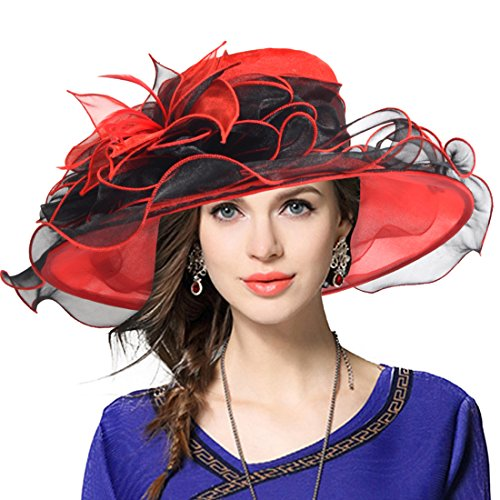 Kentucky Derby Hat Wide Brim Flounce Cocktail Tea Party Bridal Dress Church Hat (Red)