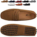 JIONS Men's Driving Penny Loafers Suede Driver Moccasins Slip On Flats Casual Dress Shoes A- Khaki 12 D(M) US/EU 48