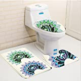 Keshia Dwete three-piece toilet seat pad customTrippy Art Digital Lotus Dot Work Motifs Yoga Meditation Calm Life East Artwork Green Purple