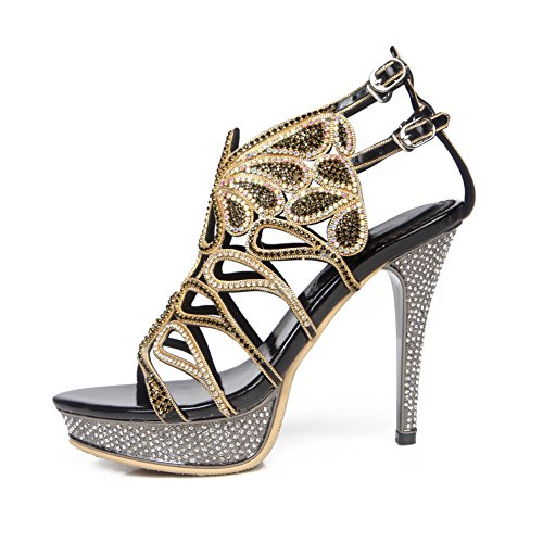 Mujeres Heel High Tamaño Zapatos Negro Diamante Señoras Low Party Prom Mid Prom Strappy Sandalias RC6gRq