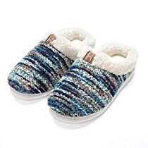 Mens Memory Foam House Slippers Wool-Like Plush Fleece Indoor/Outdoor Shoes