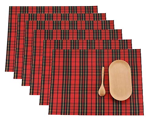 LivebyCare Set of 6 Red Check Pattern Dining Table Non-slip Placemats Vinyl Textilene Stain Resistant Kitchen Table Mats Heat-resistant Place Mats Durable 11.8X16 In