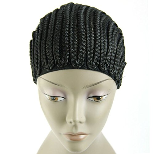 [MsFenda 1piece/lot Cornrows cap for easier sew in,braided wig caps crotchet black color spider braiding wig cap weaving cap with] (Cornrow Wigs)