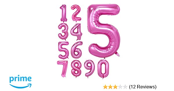 PINK 40Inch Number 5 Foil Balloons For Birthday Party FREE SHIPPING