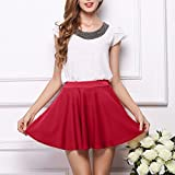 High Waist Skirt Shybuy Womens Pure Color Pleats Bottoming Half Body Skirt