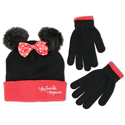 Disney Big Girls Minnie Mouse Polka Dot Hat and Glove Set, Black/Red, Age 7-16