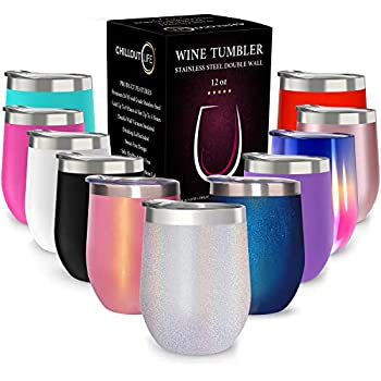 CHILLOUT LIFE 12 oz Stainless Steel Tumbler with Lid & Gift Box   Wine Tumbler Double Wall Vacuum Insulated Travel Tumbler Cup for Coffee, Wine, Cocktails, Ice Cream - Holographic Sparkle Tumbler