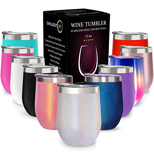 CHILLOUT LIFE 12 oz Stainless Steel Tumbler with Lid & Gift Box | Wine Tumbler Double Wall Vacuum Insulated Travel Tumbler Cup for Coffee, Wine, Cocktails, Ice Cream - Holographic Sparkle Tumbler]()