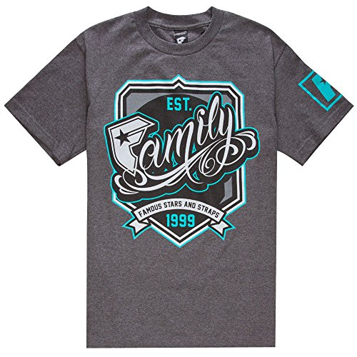 Famous Stars and Straps Men's Champs Tee, Charcoal Heather, Small