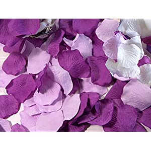 CheckMineOut 600PCS Mixed White Purple Lavender Silk Rose Petals Wedding Centerpieces Party Decoration Confetti Bridal Shower Party Favor 102