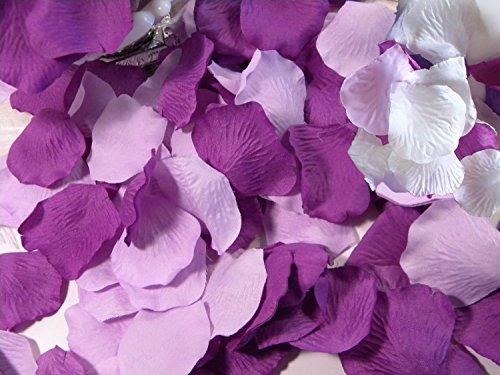 CheckMineOut 600PCS Mixed White Purple Lavender Silk Rose Petals Wedding Centerpieces Party Decoration Confetti Bridal Shower Party Favor