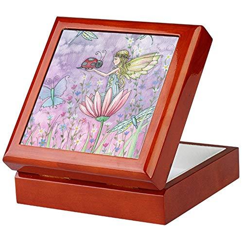 CafePress Cute Little Fairy Keepsake Box, Finished Hardwood Jewelry Box, Velvet Lined Memento Box