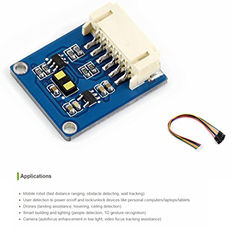 Pzsmocn VL53L1X ToF Distance Ranging Sensor,Ranging up to 4m, Time-of-Flight Long Distance Ranging Sensor,Accurate Aanging up to 4m and Fast Ranging Frequency up to 50Hz,Through I2C Interface by Pzsmocn