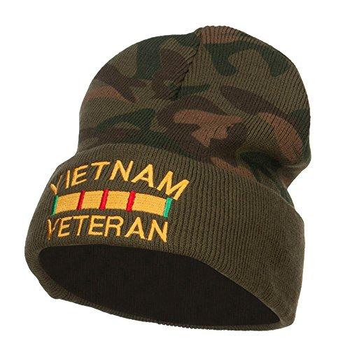 e4Hats.com Vietnam Veteran Embroidered Camo Long Beanie - Green OSFM