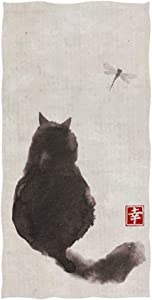 """Naanle Black Fluffy Cat Watch Dragonfly On Vintage Paper Traditional Japanese Ink Painting Soft Bath Towel Absorbent Hand Towels Multipurpose for Bathroom Hotel Gym and Spa 30""""x15"""""""
