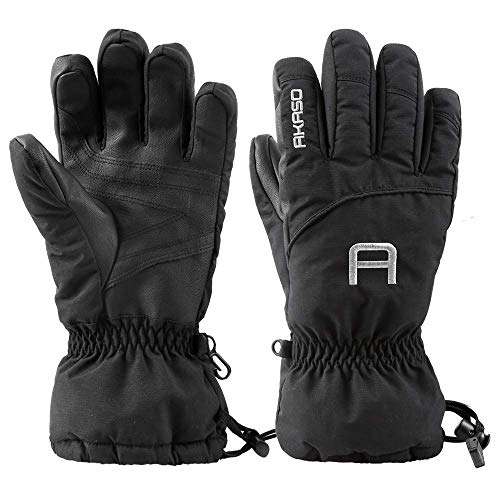 AKASO Waterproof Ski Gloves Winter Warm 3M Thinsulate Snow Gloves,High Breathable TPU Snowboard Gloves for Skiing, Snowboarding,Outdoor Sports, Gifts for Men and Women