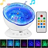 Remote Control Ocean Wave Projector, GoerTek Projector Light with 12LED & 7 Color Charging Modes Built in Mini Music Player for Kids Bedroom Living Room (12LED White)
