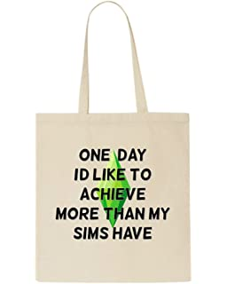 Small One Day I/'d Like to Achieve More Than My Sims Have Parody Gamer Gaming Statement Shoulder Bag