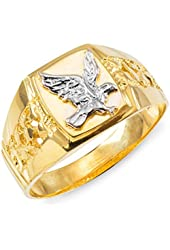 14k Gold Men S 22 Mm Nugget Coin Ring With A 22 K 1 10 Oz American Eagle Coin 1020 Amazon Com