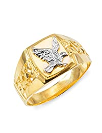Men's Polished 10k Yellow Gold Open Nugget Band American Eagle Ring
