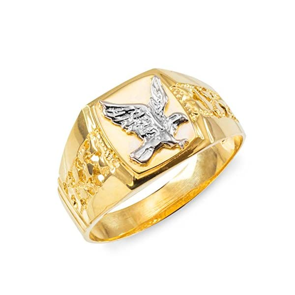 Mens-Polished-10k-Yellow-Gold-Open-Nugget-Band-American-Eagle-Ring