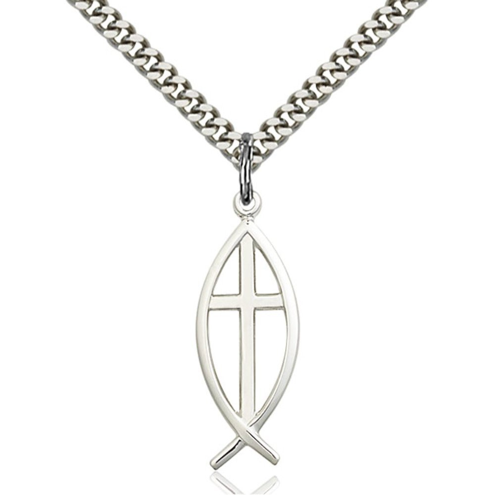 Sterling Silver Fish / Cross Pendant 1 x 3/8 inches with Heavy Curb Chain