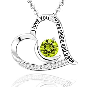 Heart Pendant Sterling Silver Peridot Birthstone August Elda&Co Green Jewelry Necklace Anniversary Gifts for Her,18+2''