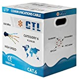 CTL Cat6 Plenum Blue Professional Cable 550mhz 1000ft UTP Solid Bulk Cable {100% REAL PURE COPPER!} ( NOT CCA! ) { New Version V3 2017 } {Snagless Technology }
