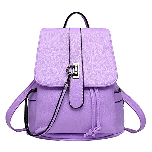 Mode Tassel PU Purple Ladies Leisure En Sports BAILIANG Femme Double Usage Polyester Cuir Backpack 5aZOPq1
