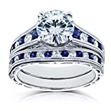 Forever-One-DF-Moissanite-Bridal-Set-and-Sapphire-2-78-Carat-in-14k-White-Gold-Size-55